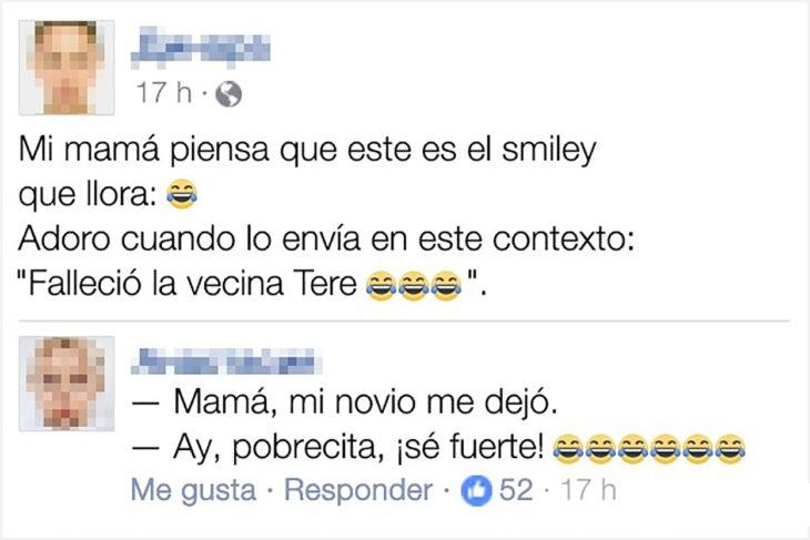 estacdo de facebook de un chico que se ríe de los emoticones de su mamá