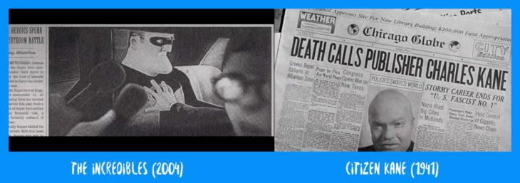 escena comparativa de los periódicos entre los increíbles y el ciudadano kane