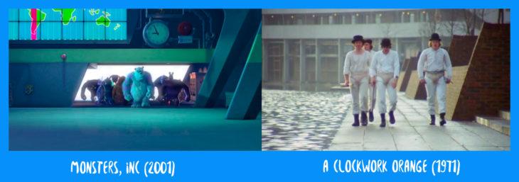 escena comparativa entre monsters inc y la naranja mecánica en la que van entrando caminando los personajes