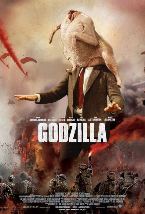 godzilla pollo en la cabeza mr bean guerra de photoshop