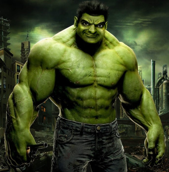 hulk mr bean guerra de photoshop