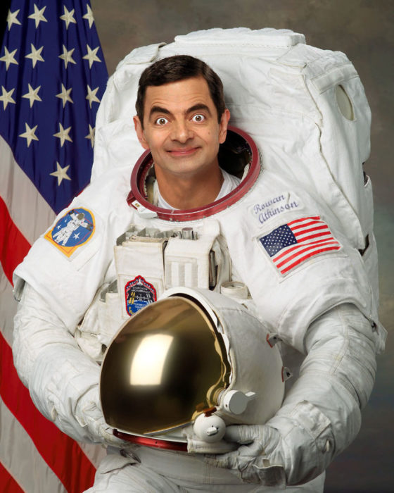 astronauta mr bean guerra de photoshop