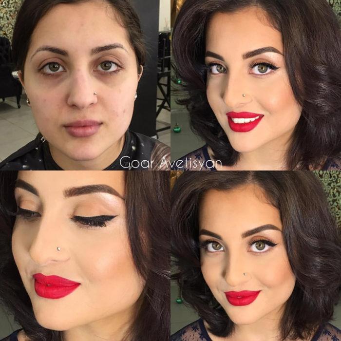mujer antes y después de maquillarse glamurosa