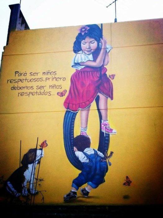 niños acción poetica muros creativos