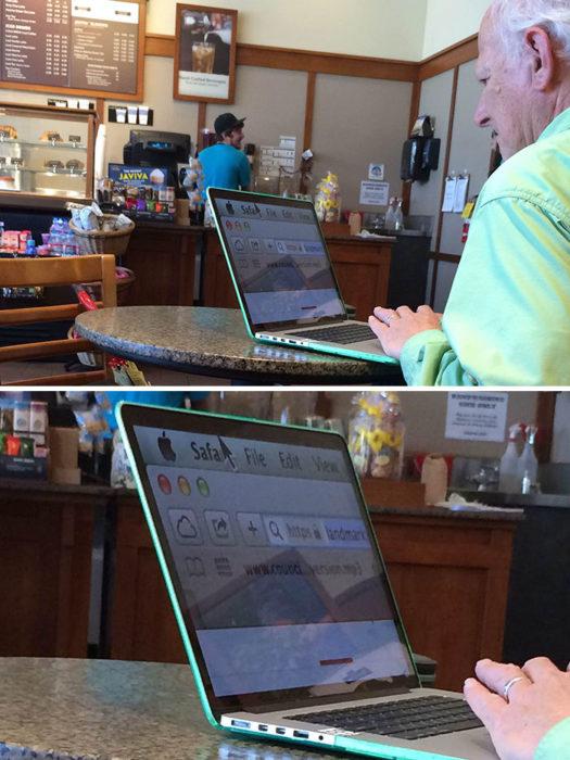 anciando en una cafetería con una laptop