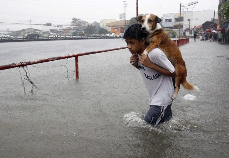 Niño carga a su perro en una inundación