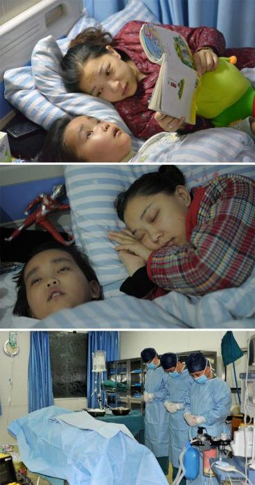 niño y madre en cama enfermos