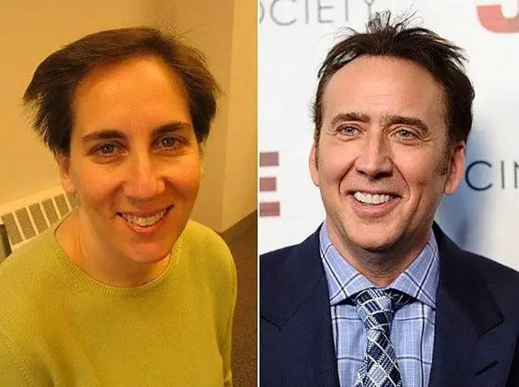 nicolas cage y mujer que se parece a él