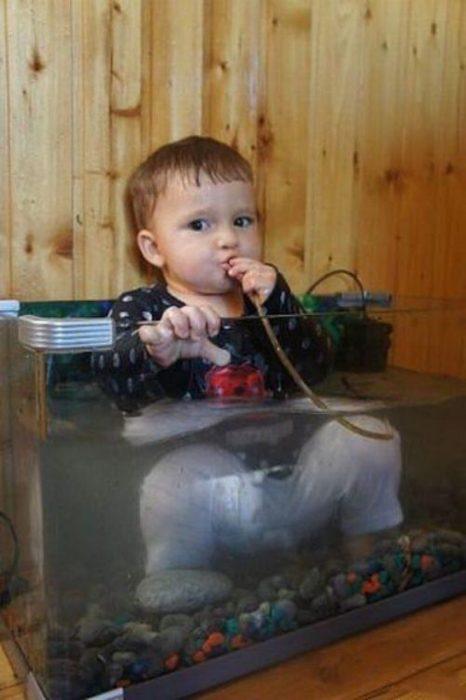niño bebiendo agua de una manguera de una pecera