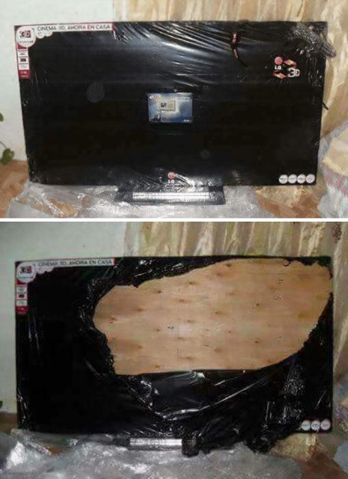 tabla de madera forrada de televisor
