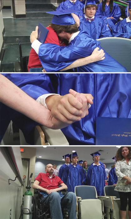 hombre con cáncer va a la graduación de su hijo
