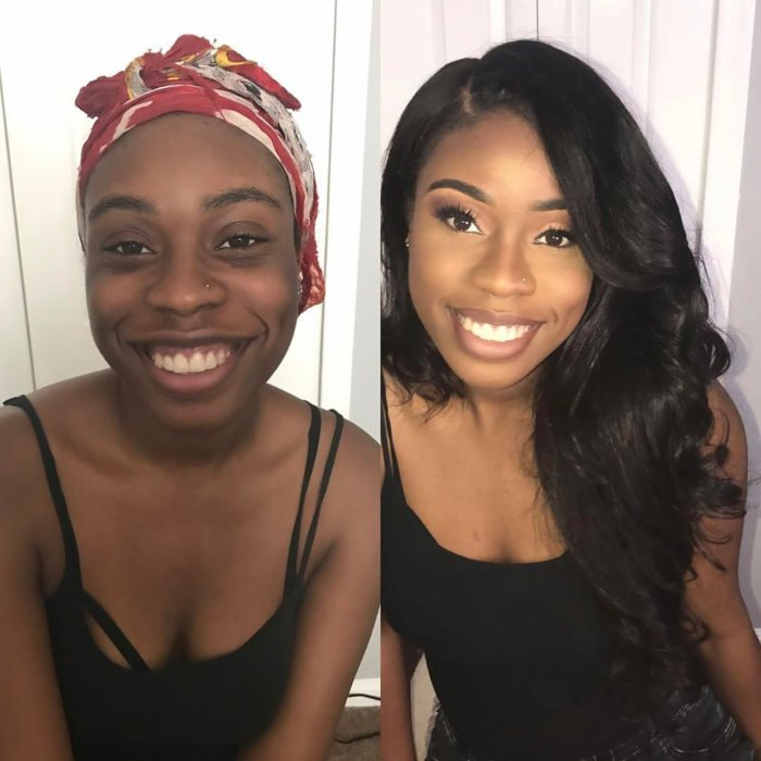 chica de color con pañuelo en la cabeza antes y después de maquillarse y peinarse