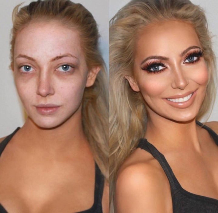 mujer con la cara más blanca que el cuello antes y después de maquillarse