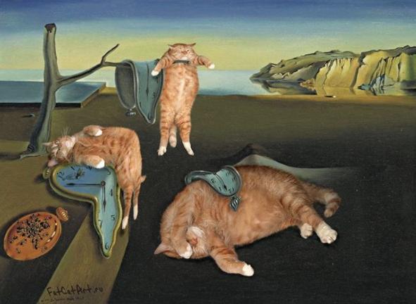 La persistencia de la memoria gatos pintura Dalí