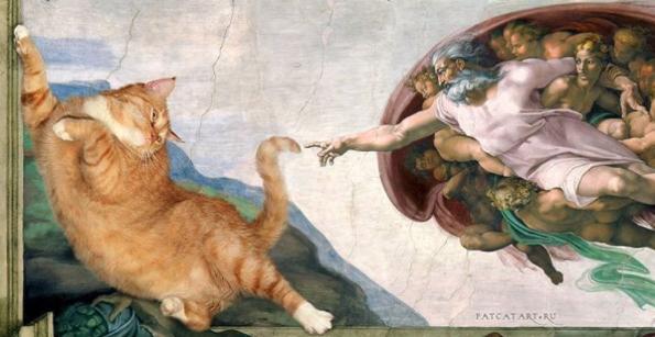 gato la creación de adán pintura Miguel Ángel