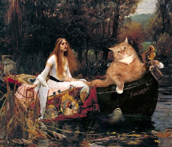 la dama de shalott John William Waterhouse gato