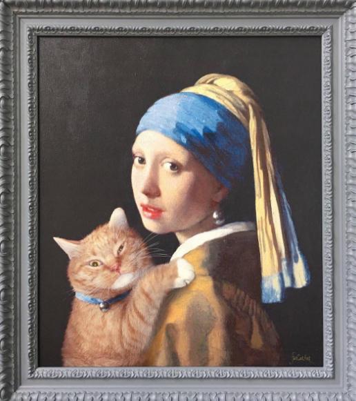 la joven de la perla gato Johannes Vermeer