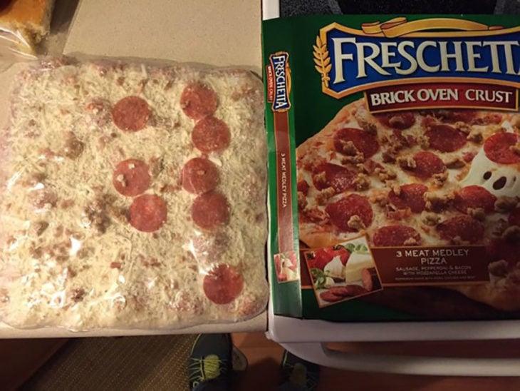 pizza cuadrada y sin salami