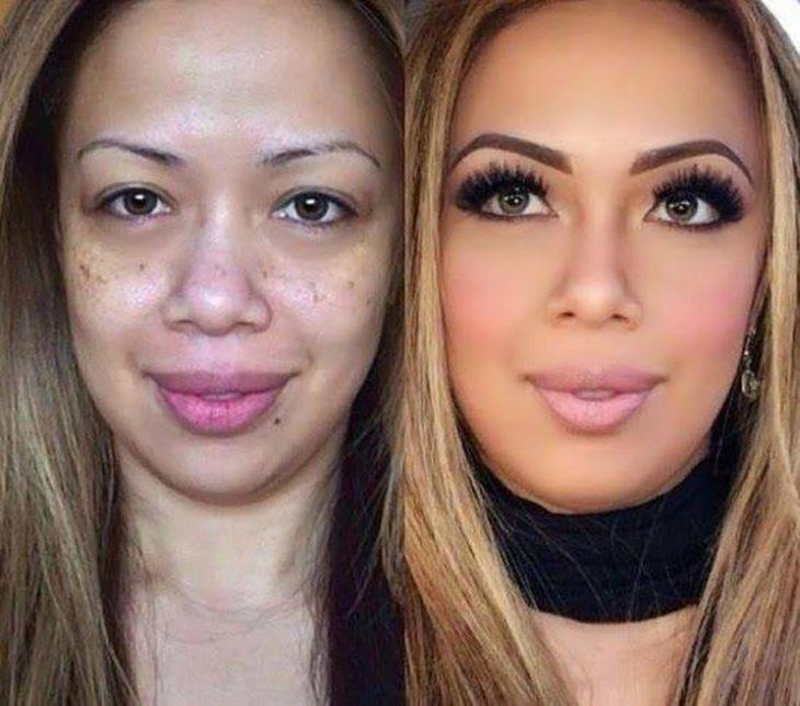 mujer con pocas cejas y la nariz chata antes y después de maquillarse