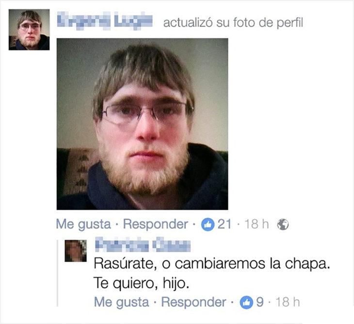 publicación en Faacebook de un muchacho con barba