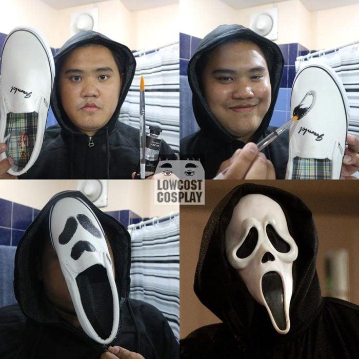 disfraz de bajo presupuesto de scream, chico utiliza un zapato pintado como máscara