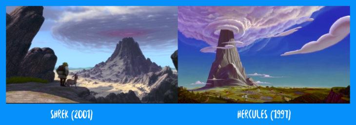 escena comparativa del monte olimpo de hércules y sherk