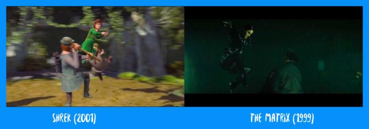 escena comparativa entre la patada de fiona y la de matrix