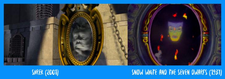 escena comparativva entre el espejo de shrek y blanca nieves