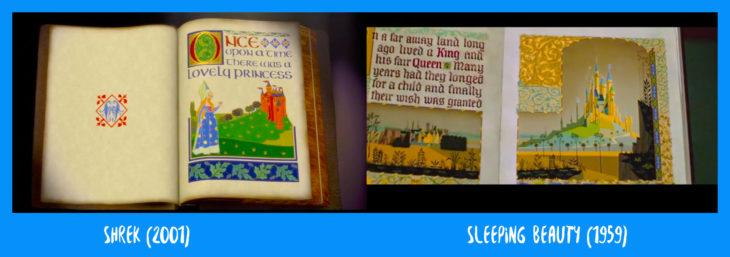 escena comparativa entre el libro de sherk y el de la bella durmiente