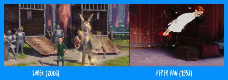 escena comparativa entre el burro de sherk volando y john darling