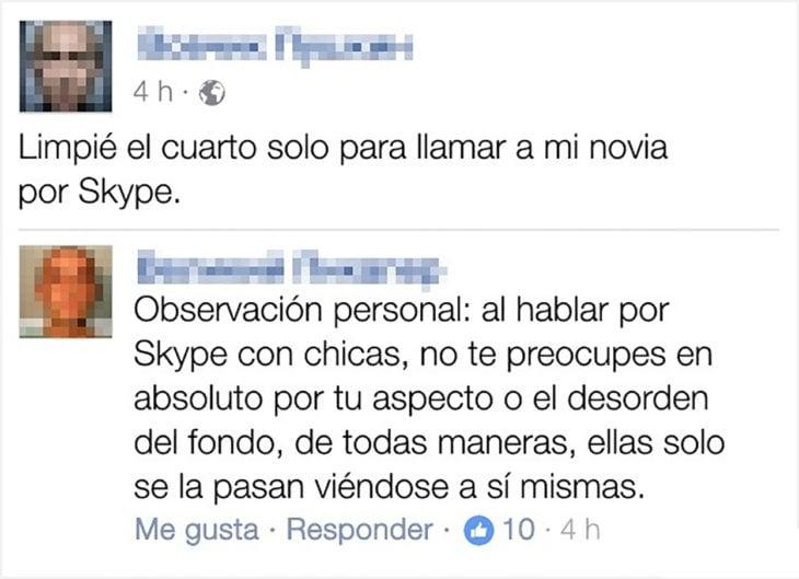 conversación en facebook sobre skype