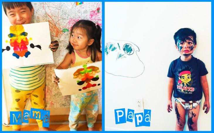 niños con un dibujo sostenido en las manos, a la derecha un niño lleno de plumón en la cara