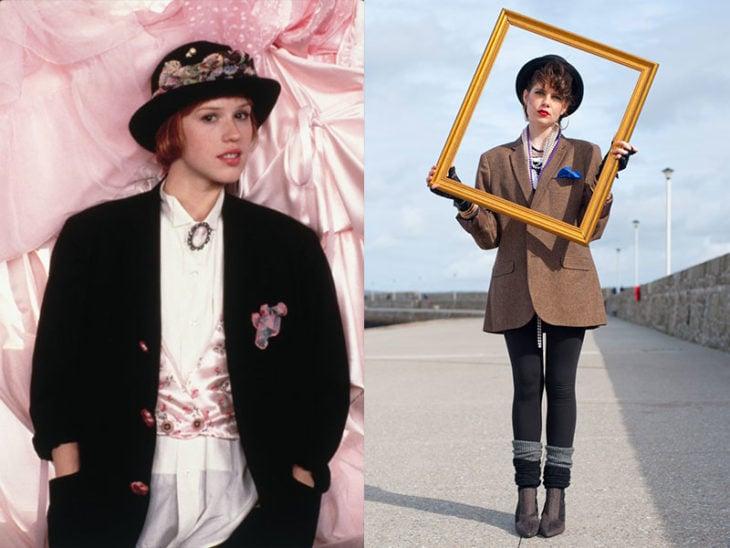 Sombrero chica en un marco moda de los 80s