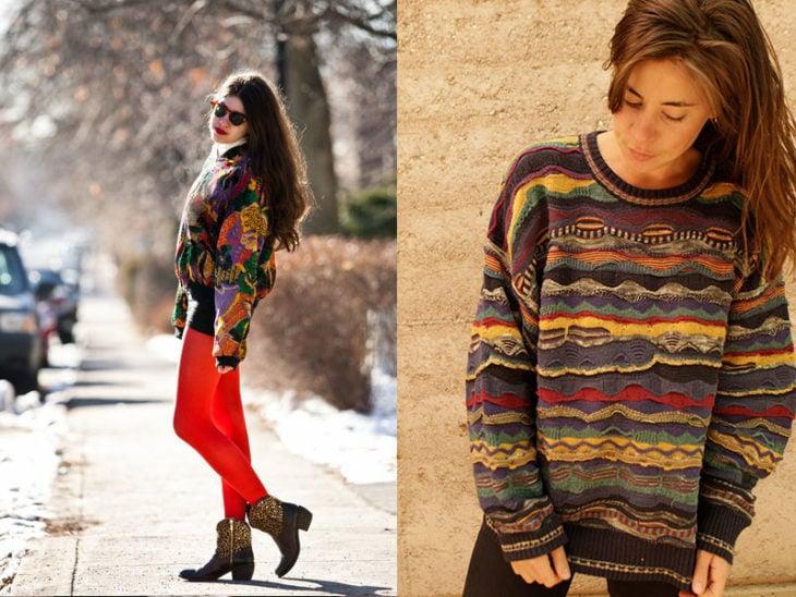 sueteres coloridos moda de los 80s