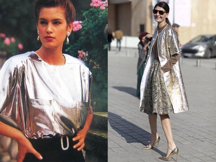 prendas metálicas moda de los 80s