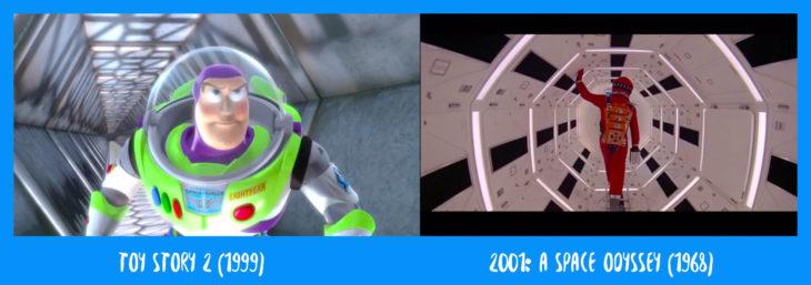 escena comparativa entre el túnel de toy story y el de odisea en el espacio