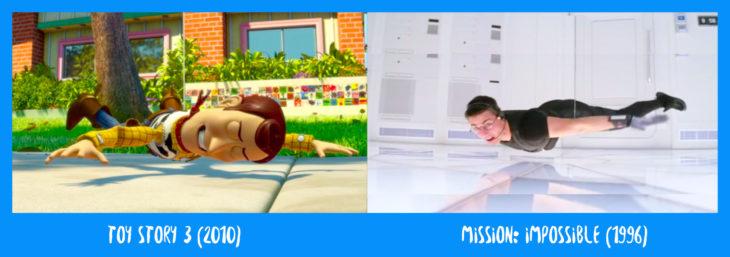 escena comparativa entre woody de toy story y misión imposible