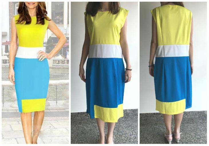 expectativa vs realidad vestido amarilla y azul