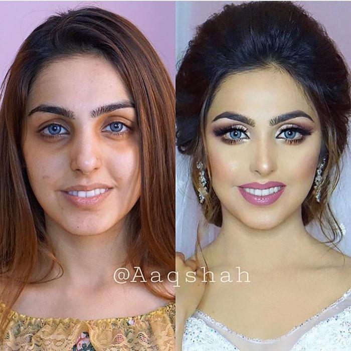 mujer antes y después de maquillarse estilo árabe
