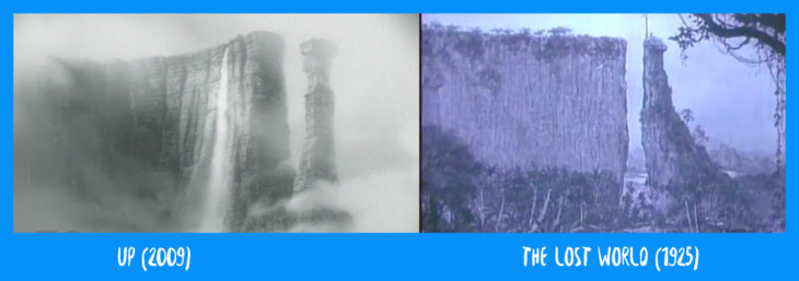 escena comparativa entre las cataratas de up y the lost world