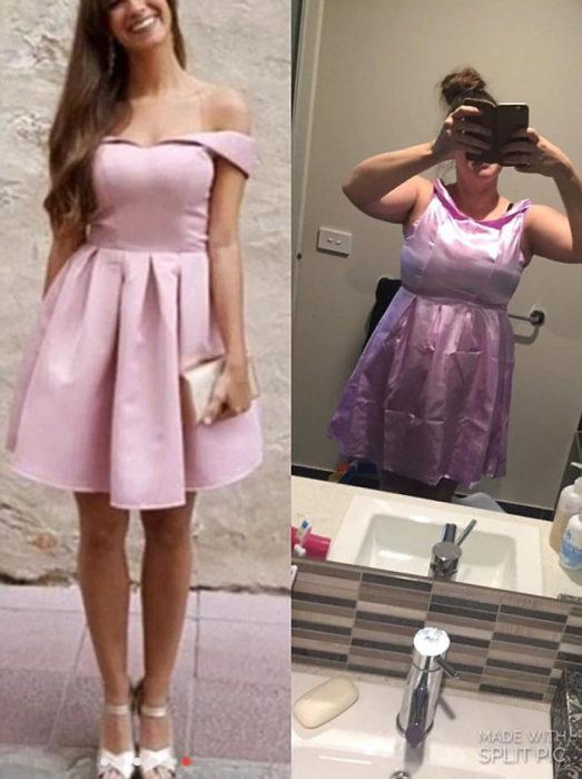 expectativa vs realidad vestido lila