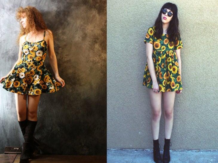 estampado floral moda de los 80s