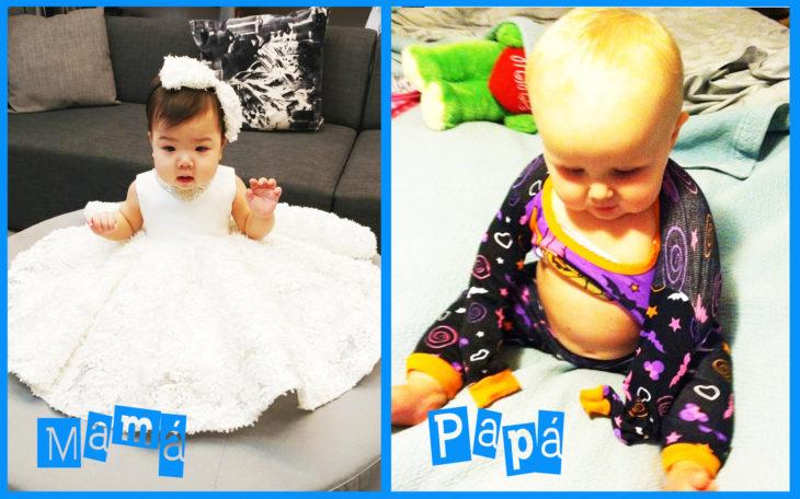 niña con vestido y diadema y a la derecha niño con pijama mal puesta