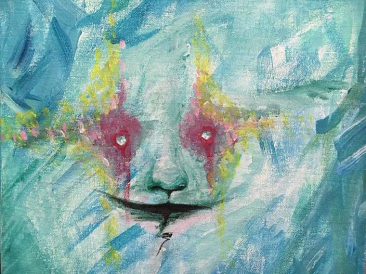 arte a acuarela azul de un rostro con ojos de estrella color amarillo y rojo
