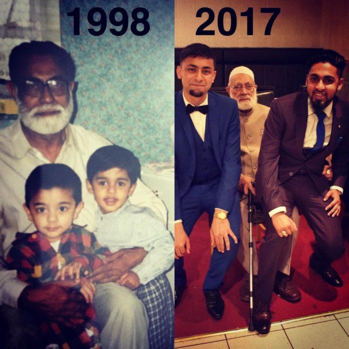 abuelo y sus nietos antes y después