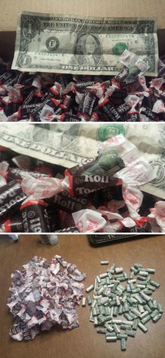 dulces rellenos de dinero