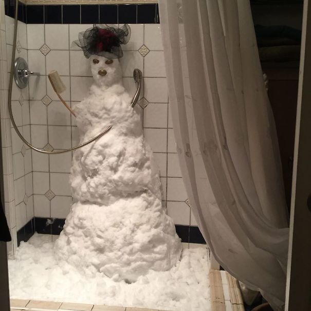muñeco de nieve baño
