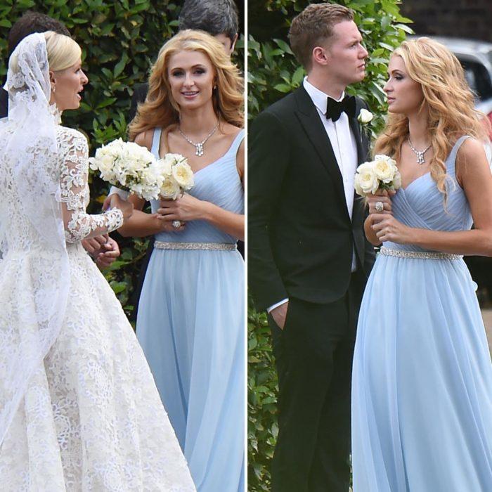 paris dama de honor vestido azul
