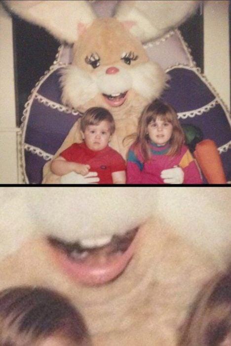 conejo de pascua terrorífico vintage niños