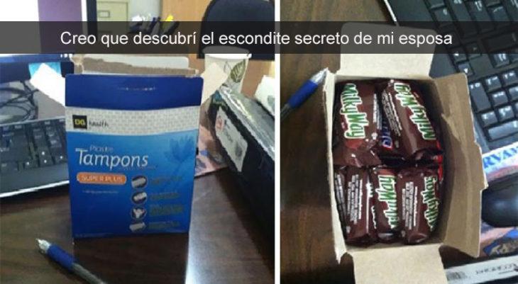 chocolates escondidos en caja de tampones